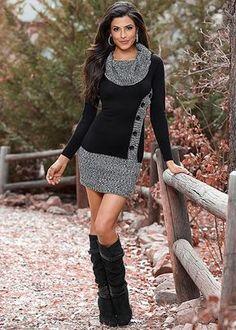 Venus Women's Button Front Sweater Dress - Black/grey, Size XL