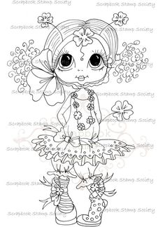INSTANT DOWNLOAD Digital Digi Stamps Big Eye Big Head Dolls Digi IMG675 By Sherri Baldy