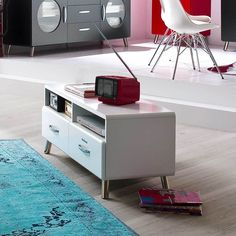 Seattle White TV Stand - High Gloss White TV Stand / European Design ...
