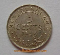 1943 Newfoundland 5 cents silver coin with C mint mark