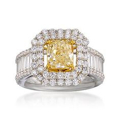 1.82 Carat Certified Fancy Yellow Diamond Ring With 2.51 ct. t.w. Diamonds In 18kt Two-Tone Gold