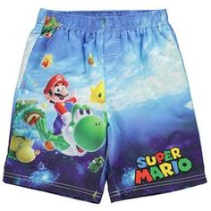 3a572ed63d37d Boys Nintendo Super Mario Board Shorts Swimming Trunks ages 4 through to 12  NEW
