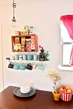 Tea Station--except it needs loose tea in jars, and some infusers, not teabags. Plate Shelves, Shelf, Bungalow Kitchen, Mug Display, Tea Station, Kitchen Themes, Kitchen Photos, Diy Storage, Home Decor Inspiration