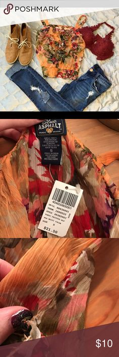 Blue Asphalt Ruffle Crop Top This piece is perfect for summer! Pair with a bralette and ripped jeans or shorts. NWT - due to delicacy of material, there are a few loose threads (see bottom picture). ❌ No trades ✔️ Reasonable offers considered‼️ bundle outfit for a discount  Blue Asphalt Tops Crop Tops