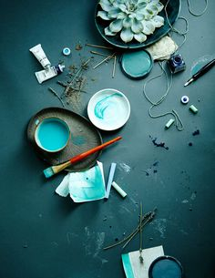 Blue and turquoise colour inspiration Deco Turquoise, Bleu Turquoise, Aqua, Flat Lay Photography, Still Life Photography, Shades Of Teal, Colour Board, Blue Aesthetic, Colour Schemes