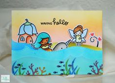 Waving Hello - Lawn Fawn Slider Card
