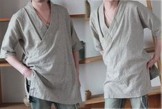 Kimono style with Chinese hand-knotted buttons at side. Side slits. Half sleeves. Custom length. Bound edges to avoid the seams from being ripped. Made