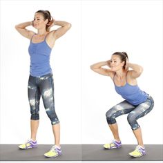 Stand with your feet hip-width apart and toes angled slightly outward. Hold your hands comfortably in front...