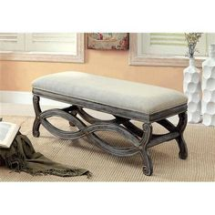 Furniture of America Arden Fabric Seat Accent Bench - Reclaimed Gray - The Furniture of America Arden Fabric Seat Accent Bench - Reclaimed Gray adds a touch of rustic, contemporary appeal to your home. Crafted of dura. Reclaimed Wood Benches, Accent Bench, Upholstered Bench, Entryway Bench, Foyer, Entryway Ideas, Online Furniture, Living Room Furniture, Garden Furniture