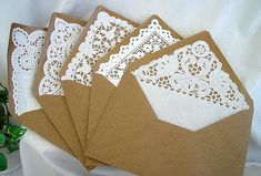 Kraft, Doily Lace Lined Envelopes Vintage Rustic Handmade Shabby Chic Wedding Invitaion Envelopes Size 50 Piece Set on Etsy, Lace Invitations, Wedding Invitation Envelopes, Handmade Wedding Invitations, Kraft Envelopes, Invitation Ideas, Handmade Envelopes, Wedding Stationery, Brown Envelopes, Paper Envelopes