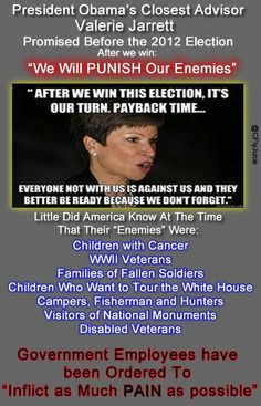 Obama advisor Valerie Jarrett - after the 2012 election we will punish our enemies 2012 Election, Liberal Logic, Conservative Politics, Our Country, Thats The Way, Democratic Party, Current Events, We The People, Obama
