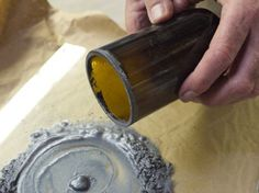 How to cut wine bottle glasses. Best way I've seen for sanding the edge smooth.