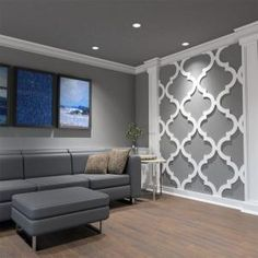 Ekena Millwork in. x 43 in. Large Anderson White Architectural Grade PVC Decorative Wall Panels - The Home Depot Accent Walls In Living Room, Accent Wall Bedroom, Living Room Grey, Living Room Decor, Decorating A Large Wall In Living Room, Feature Wall Living Room, Wood Accent Walls, Wallpaper For Living Room, Foyer Wall Decor