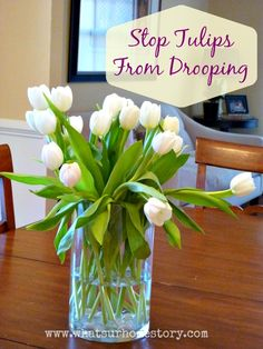 How to stop tulips in a vase from drooping in an arrangement