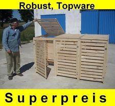 Mülltonnenbox Müllcontainer Müllbox für 3 Tonnen, NEU Massivholz  ANGEBOT