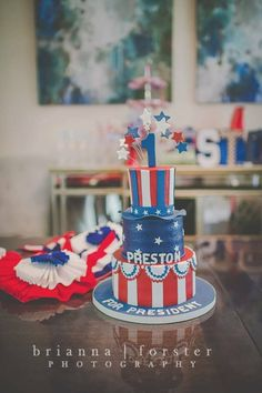 President themed 1st birthday cake by Party Flavors Custom Cakes.