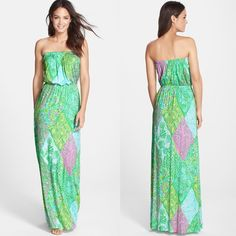 """Lilly Pulitzer Jersey Strapless Blouson Maxi NWT NEVER WORN/SOLD OUT/NWT!!  shows off my hips a little more than I would like. UHG. A soft, beachy print freshens the fluid jersey of this vacation-worthy maxi dress cinched at the strapless neckline and waist for a flattering silhouette. 56 1/2"""" center front length (size Medium). Slips on over head. Unlined. 95% rayon, 5% spandex. Hand wash cold, dry flat. By Lilly Pulitzer; imported. Lilly Pulitzer Dresses Maxi"""