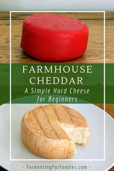 Ready to try making hard cheese? This basic farmhouse cheese is a simplified cheddar cheese recipe. The instructions include 3 different ways to age the cheese, for a delicious homemade hard cheese. Cheddar Cheese Recipes, Farmhouse Cheddar Cheese Recipe, Goat Milk Cheddar Cheese Recipe, Goat Milk Recipes, Aged Cheese, Homemade Cheese, Homemade Yogurt, How To Make Cheese, Making Cheese