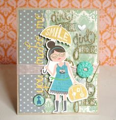 Love this card featuring some embellishments from the October Afternoon Travel Girl collection!