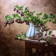 http://nikolay-panov.artistwebsites.com/products/gooseberry-nikolay-panov-art-print.html • Fruit still life with bouquet of branches of fresh gooseberry berries of pink and green colors in vase in countryside in summer time