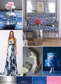 navy, cobalt, sterling and rose - gorgeous color palette