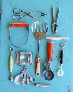 set of vintage kitchen gadgets with a Kitchenmajig, melon baller, pastry crimper, metal egg slicer.  $25.00 on Etsy.