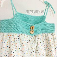 Vestido de ganchillo y tela. Tutorial gratis con BlueBubalu.com Crochet Fabric, Crochet Top, Couture, Diy Clothes, Diy For Kids, Baby Dress, Dress Skirt, Crop Tops, Summer Dresses