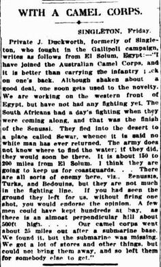Friday May 12, 1916, Egypt: Singleton lad writes about life in the Camel Corps. - WWI covered live