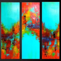 Carousel 9 - 30 x 10 - Set of Three - Abstract Acrylic Paintings - Highly Textured- Fine Art Modern Abstract Oil, Contemporary Paintings, Painting Inspiration, Painting & Drawing, Fine Art, Orange Yellow, Green Aqua, Yellow Turquoise, Cobalt Blue
