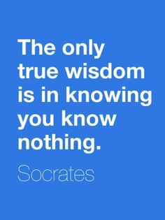 Socrates: The only true wisdom is in knowing you know nothing. (Which leaves your mind open to learning new things.)