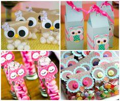 Dicas de decoração de festa Corujas, desde o bolo, aos doces decorados e o bufê criativo. Vem ver!