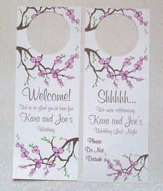 Hotel Door Hangers  PURPLE CHERRY BLOSSOMS  Double by paperpixie, $1.25