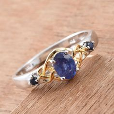 Masoala Sapphire and Kanchanaburi Blue Sapphire 14K Yellow Gold and Platinum Over Sterling Silver Ring