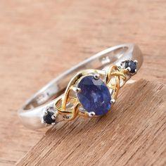 Masoala Sapphire, Kanchanaburi Blue Sapphire YG and Platinum Over Sterling Silver Ring (Size TGW cts. Sapphire Jewelry, Blue Sapphire, Sterling Silver Rings, Yellow, Pretty, Gold, Sterling Silver Thumb Rings