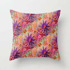 PINK PURPLE PASSION PUNK A FUNKY FLORAL seamless design Throw Pillow by Rokin Art by RokinRonda - $20.00