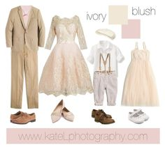 Blush + Ivory // Dressy family outfit inspiration: what to wear for a family photo session in the spring or summer. Created by Kate Lemmon, www.kateLphotography.com