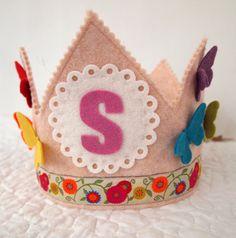 rainbow birthday crown  butterflies  wool felt  waldorf door mosey, $32.00