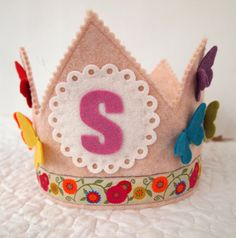 rainbow birthday crown - butterflies - wool felt waldorf birthday party