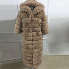 5A 2016 NEW hot sale woman real fox fur coat long fox fur coats blue fox fur jacket 135cm with hood