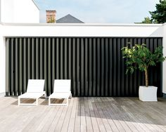 Operable Louvreline flush panels - Designed by LouvreTec Outdoor Shutters, Outdoor Screens, Outdoor Blinds, Outdoor Rooms, Outdoor Furniture Sets, Window Screens, Window Shutters, Backyard Privacy Screen, Privacy Walls