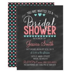 Shop Chalkboard Bridal Shower Invitation created by CLaceyDesign. Chalkboard Wedding Invitations, Heart Wedding Invitations, Dinner Invitations, Wedding Invitation Design, Bridal Shower Invitations, Custom Invitations, Teal Bridal Showers, Bride Shower, Wedding Flower Arrangements