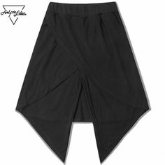 Fashion Shorts Skirt Man Spliced Two Pieces Black Shorts Unisex Night Club Punk Gothic Stage Costumes