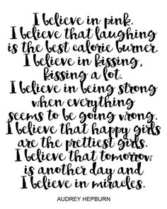 Audrey Hepburn Quote Print I believe... Instant by CHICxBOUTIQ