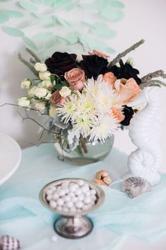 Ceramic sea horse + decor from a Majestic Under the Sea Birthday Party on Kara's Party Ideas | KarasPartyIdeas.com (57)