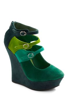 Spruce Upscale Wedge - Green, Solid, Buckles, High, Platform, Wedge, Mary Jane, Colorblocking