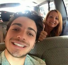 Gianluca and his mother.