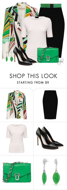 """""""Emilio Pucci Printed stretch-twill blazer"""" by dgia ❤ liked on Polyvore featuring Emilio Pucci, Boohoo, Alexander McQueen, Proenza Schouler, Bling Jewelry and Ottod'Ame"""