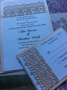 Laser Cut Wedding Invitation Lace Custom by CelineDesigns on Etsy, $7.99