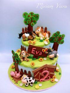 My Factory for Eva - Cake by Miriam Viera - barnyard cake Barnyard Cake, Farm Cake, Cupcakes, Cupcake Cakes, Farm Birthday Cakes, Farm Animal Cakes, Cowgirl Cakes, Character Cakes, Novelty Cakes
