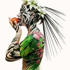 Zebra - Famous Last Words Adventure Style, Enchanted Garden, Zebras, Drawing, Body Painting, Painting Art, Flower Art, Art Flowers, Face And Body